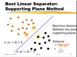 best linear separator supporting plane method