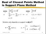 dual of closest points method is support plane method