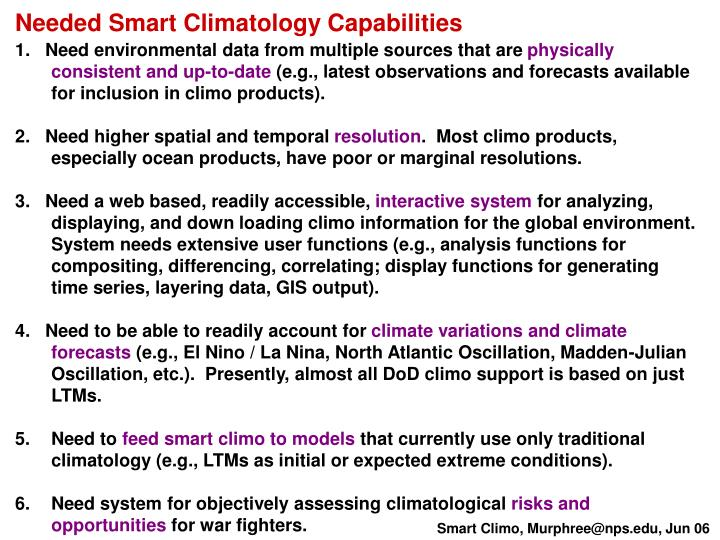Needed Smart Climatology Capabilities