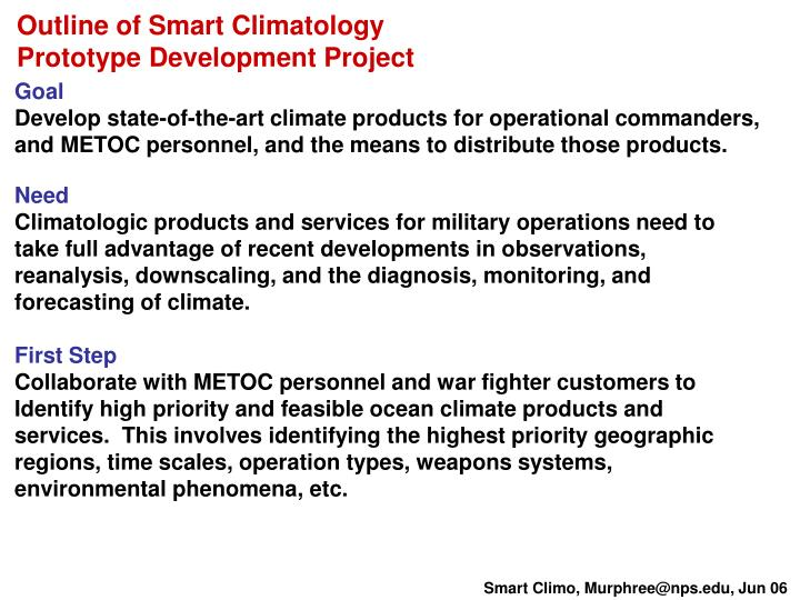 Outline of Smart Climatology