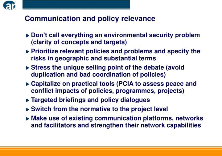Communication and policy relevance