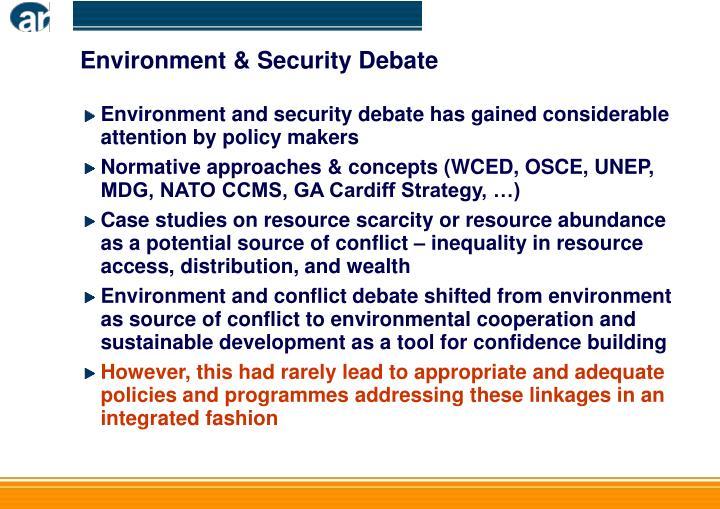 Environment & Security Debate