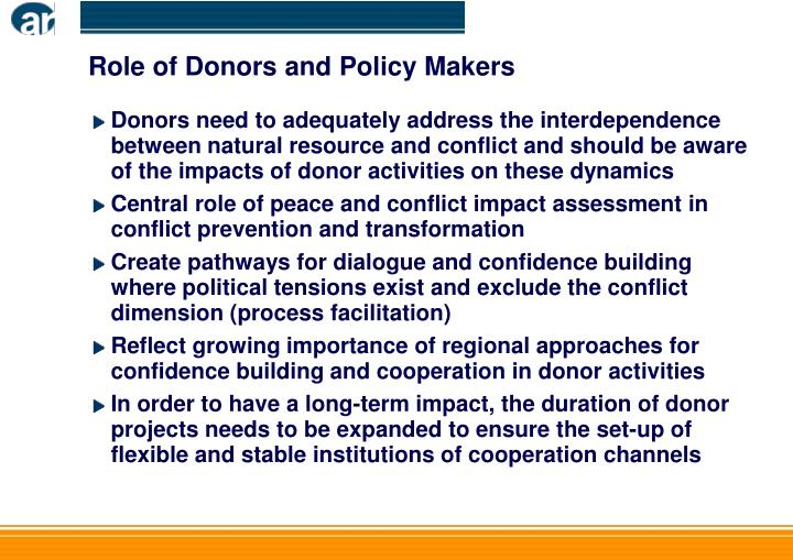 Role of Donors and Policy Makers