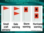 flags indicating advisories and warnings in maritime areas