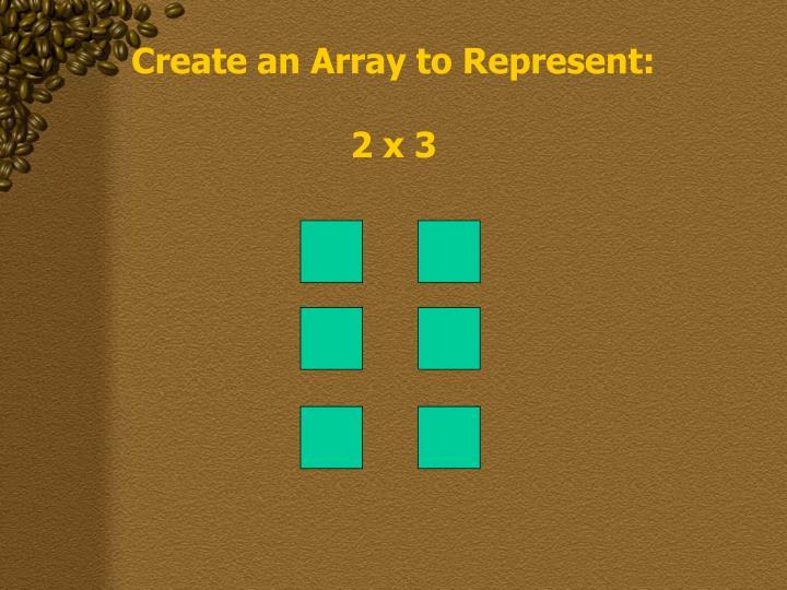 Create an Array to Represent: