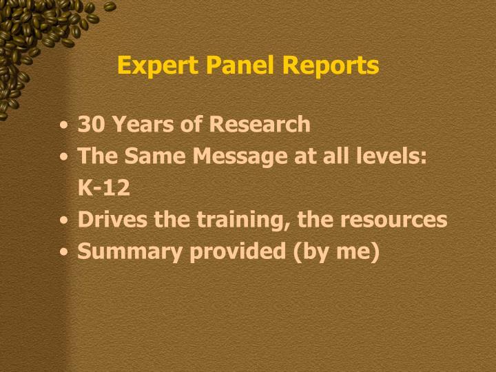 Expert panel reports