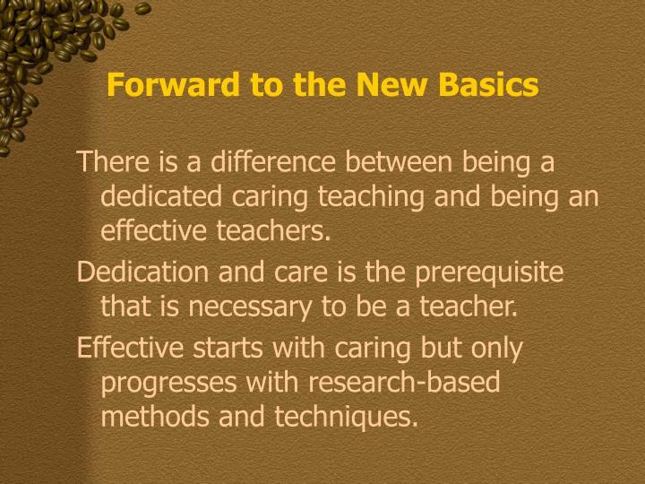 Forward to the New Basics