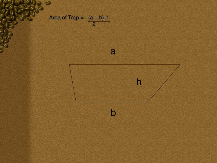 Area of Trap =   (a + b) h