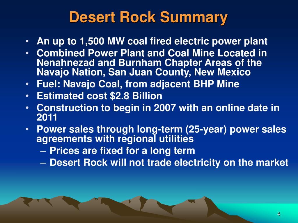 Desert Rock Summary