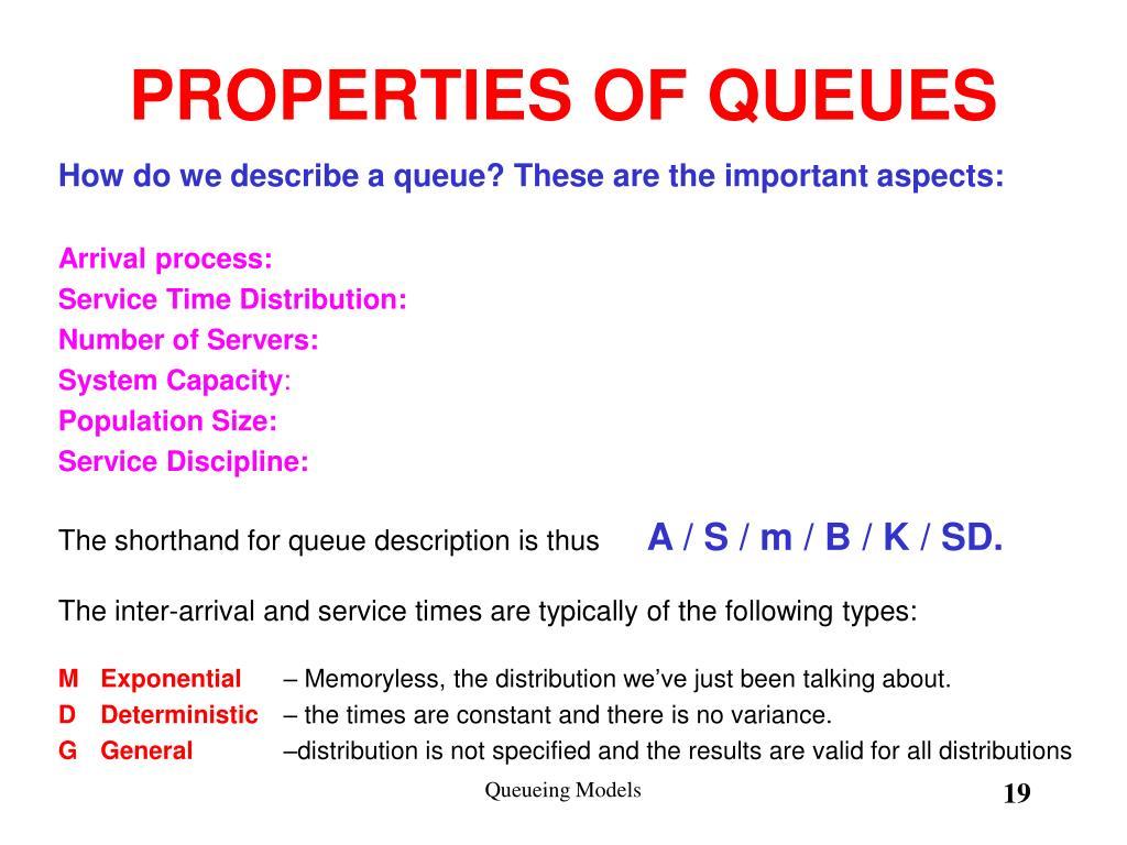 PROPERTIES OF QUEUES