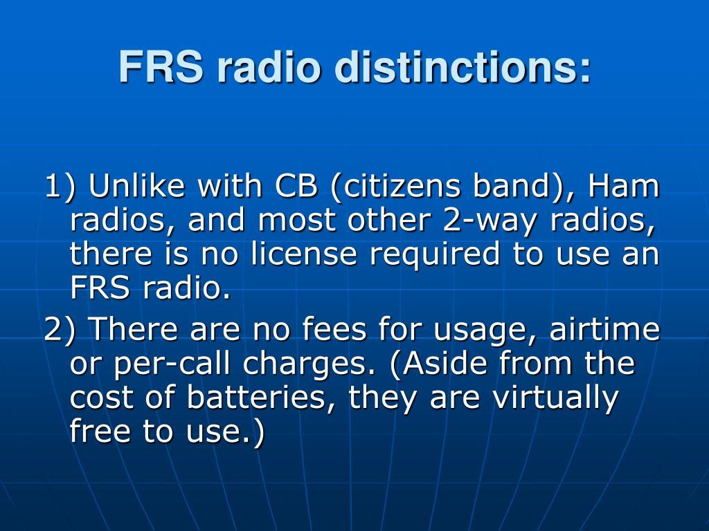 FRS radio distinctions: