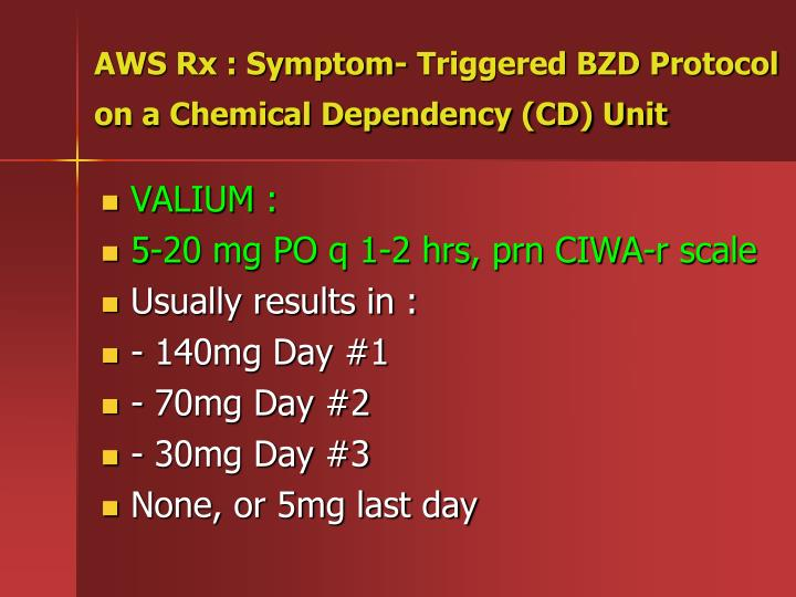 AWS Rx : Symptom- Triggered BZD Protocol on a Chemical Dependency (CD) Unit