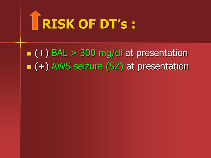 RISK OF DT's :