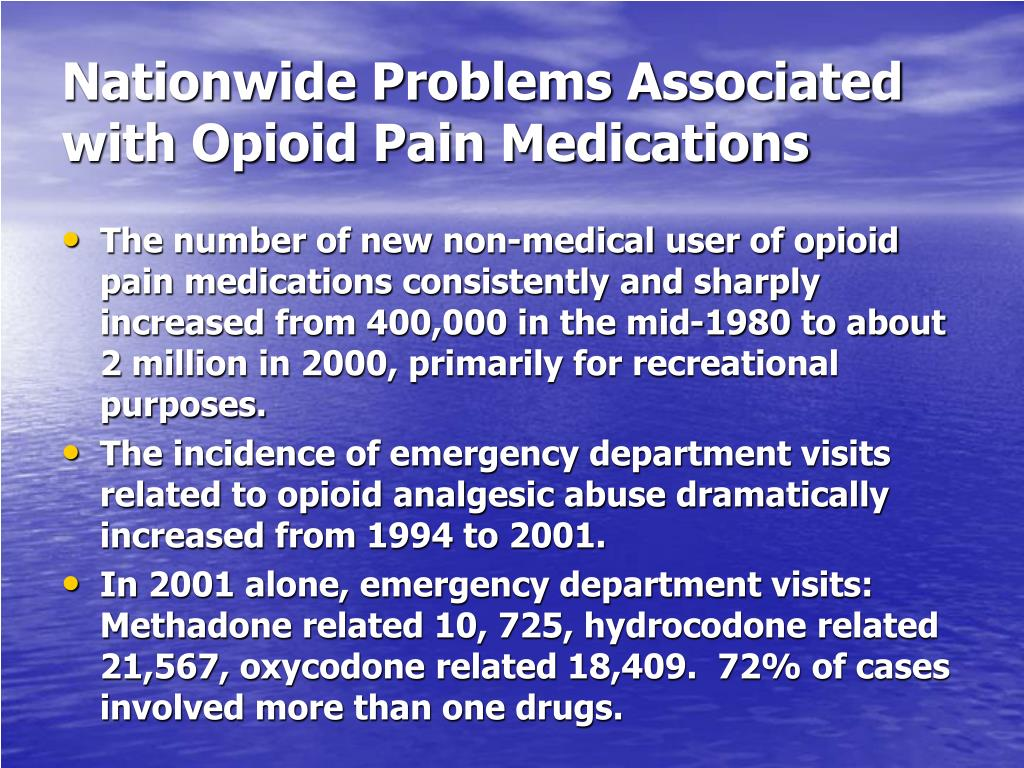 Nationwide Problems Associated with Opioid Pain Medications
