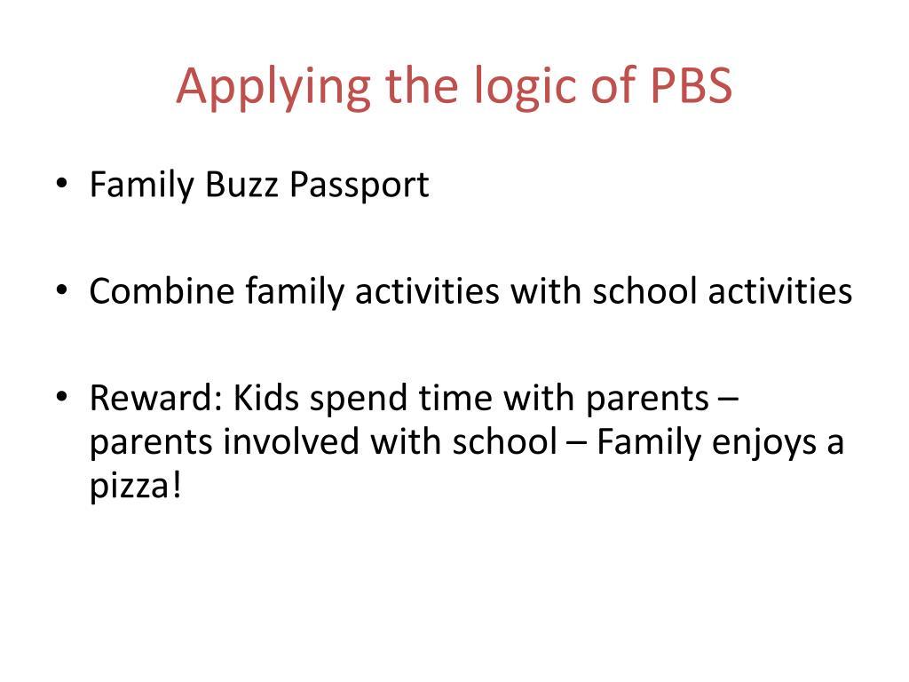 Applying the logic of PBS