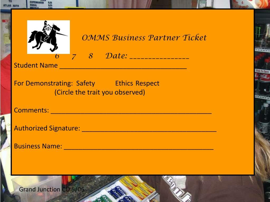 OMMS Business Partner Ticket