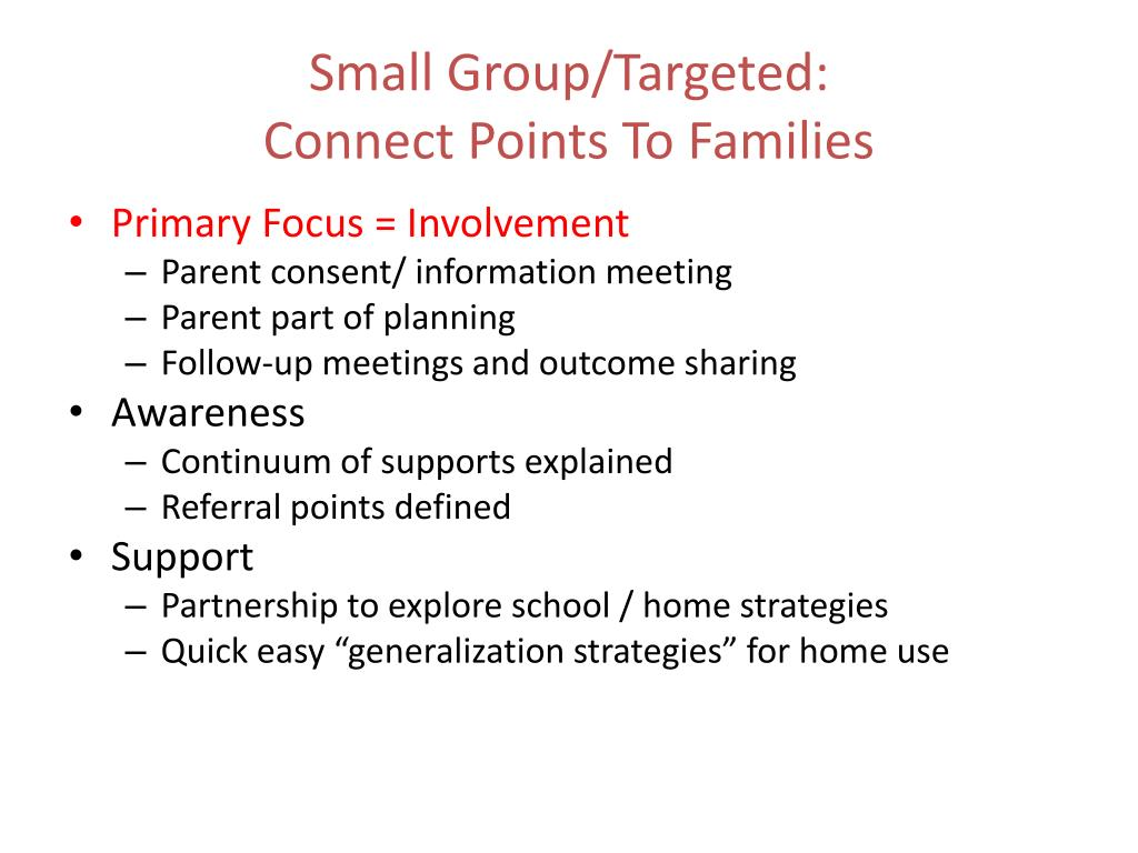 Small Group/Targeted: