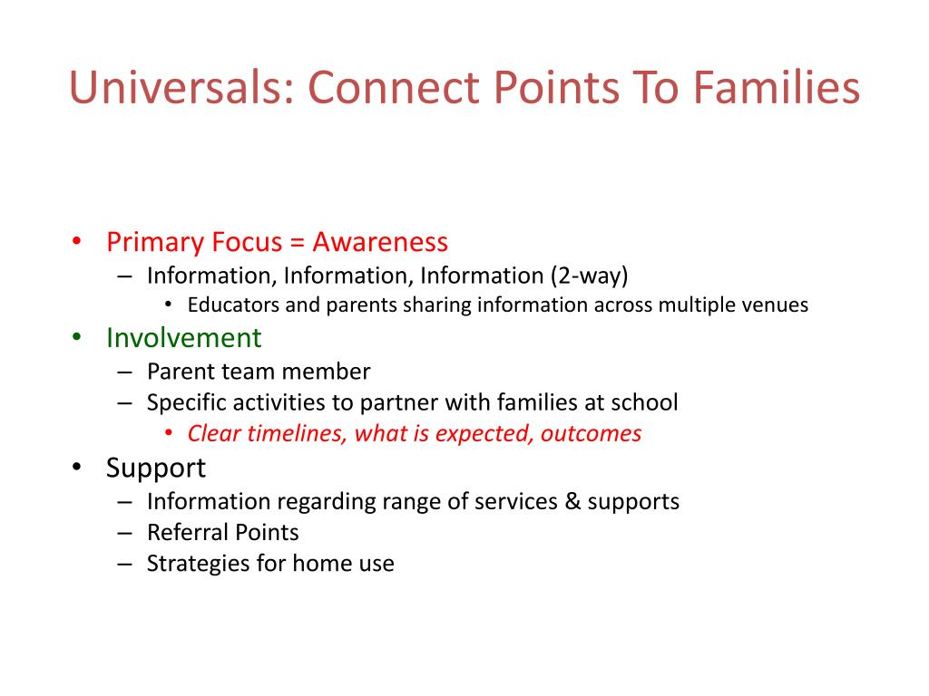 Universals: Connect Points To Families