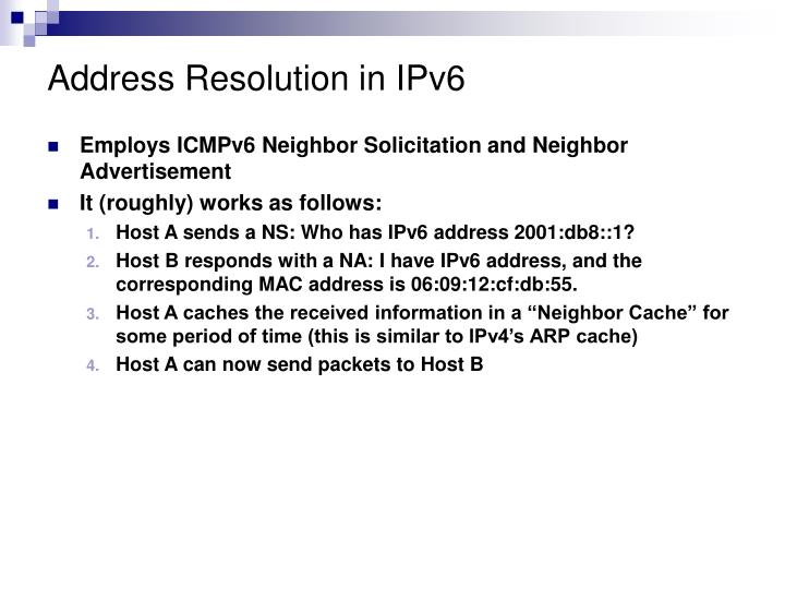 Address Resolution in IPv6