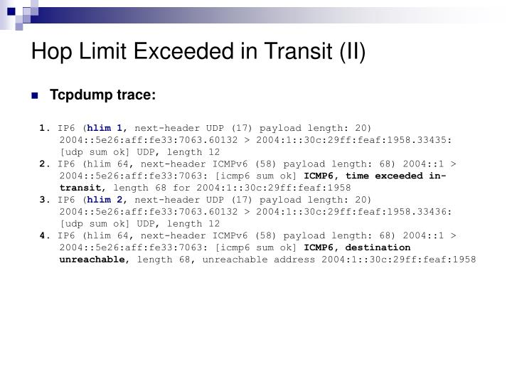 Hop Limit Exceeded in Transit (II)