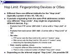 hop limit fingerprinting devices or oses