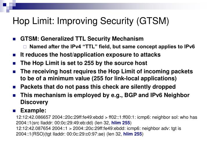 Hop Limit: Improving Security (GTSM)