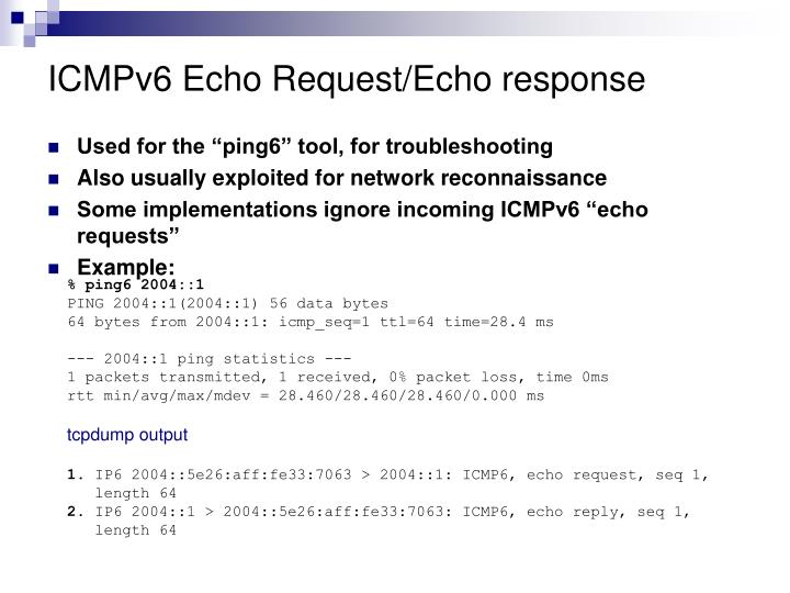 ICMPv6 Echo Request/Echo response