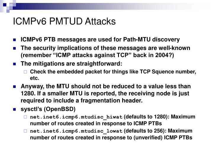 ICMPv6 PMTUD Attacks