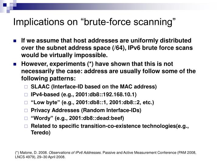 "Implications on ""brute-force scanning"""