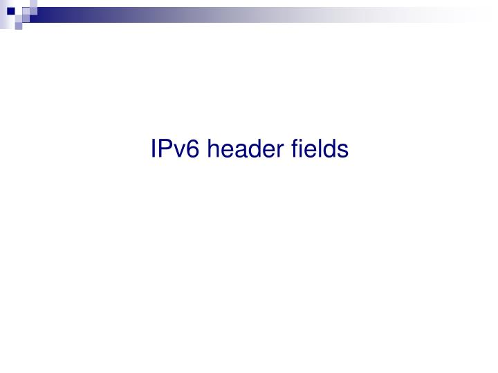 IPv6 header fields