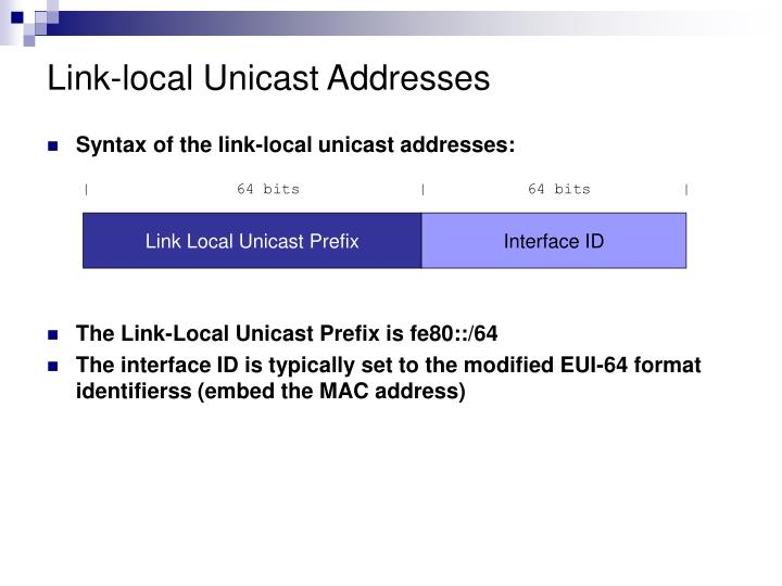Link-local Unicast Addresses