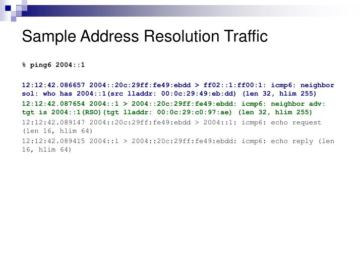 Sample Address Resolution Traffic