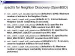sysctl s for neighbor discovery openbsd