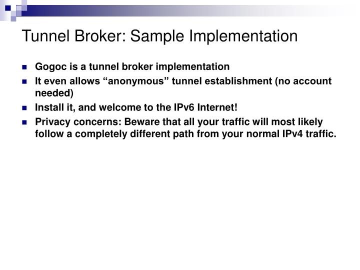 Tunnel Broker: Sample Implementation