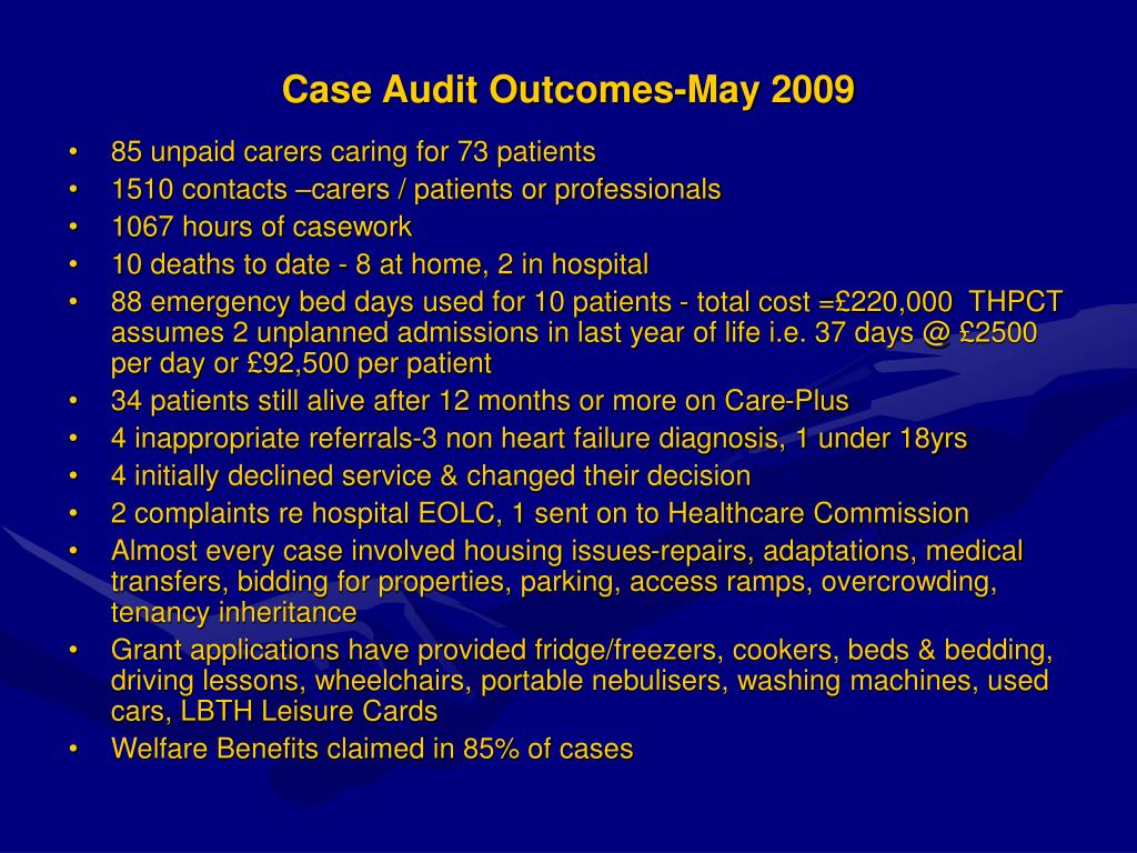 Case Audit Outcomes-May 2009
