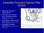 ensemble transform kalman filter etkf