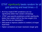 etkf significantly beats random for all grid spacing and lead times 0