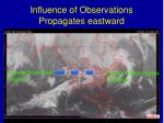 influence of observations propagates eastward