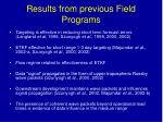 results from previous field programs