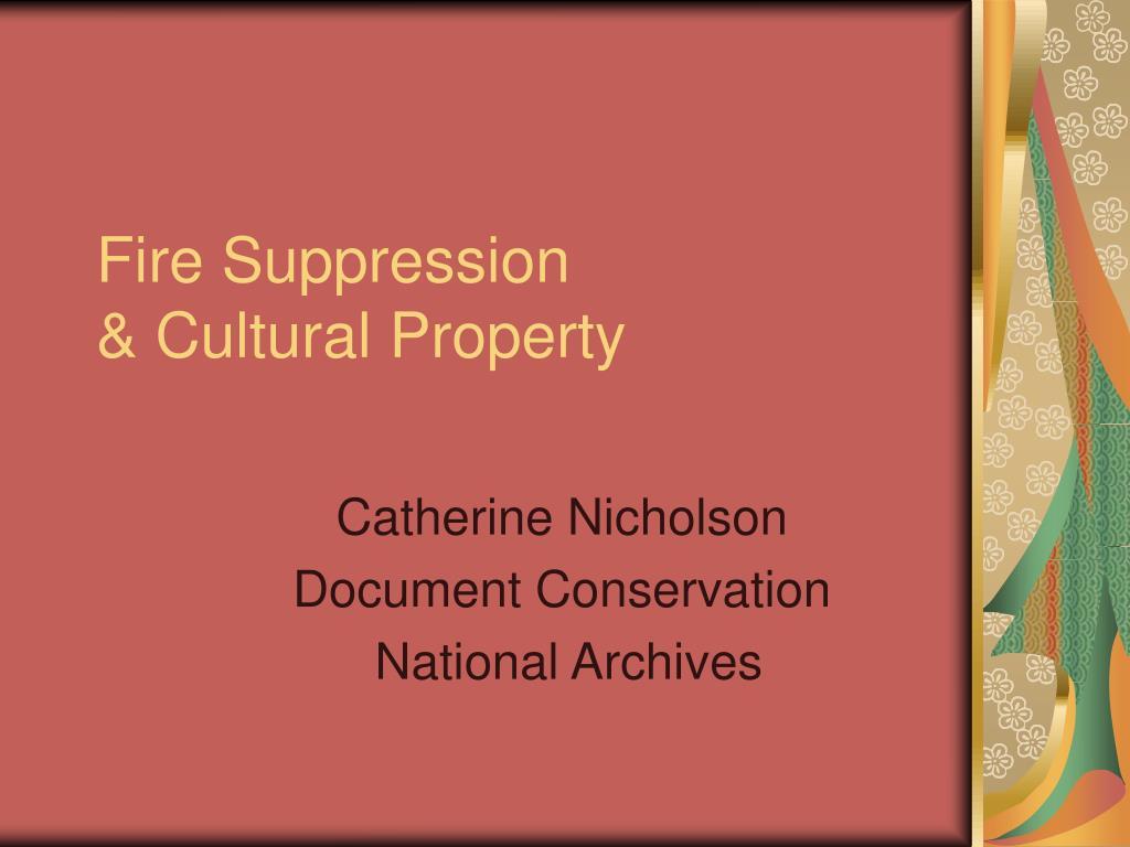 fire suppression cultural property l.