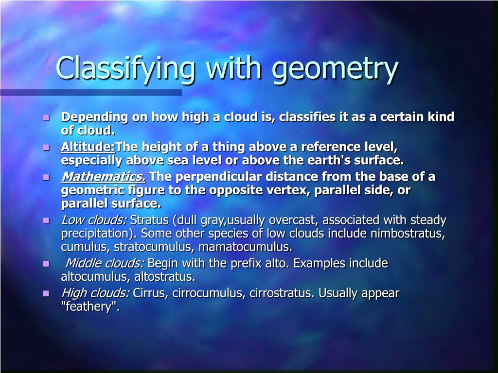 Classifying with geometry