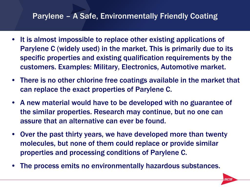 Parylene – A Safe, Environmentally Friendly Coating