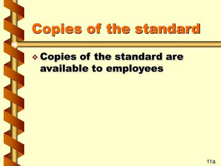 Copies of the standard