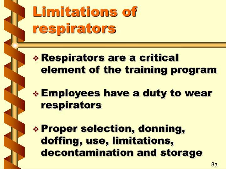 Limitations of respirators