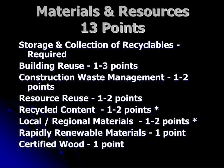 Materials & Resources
