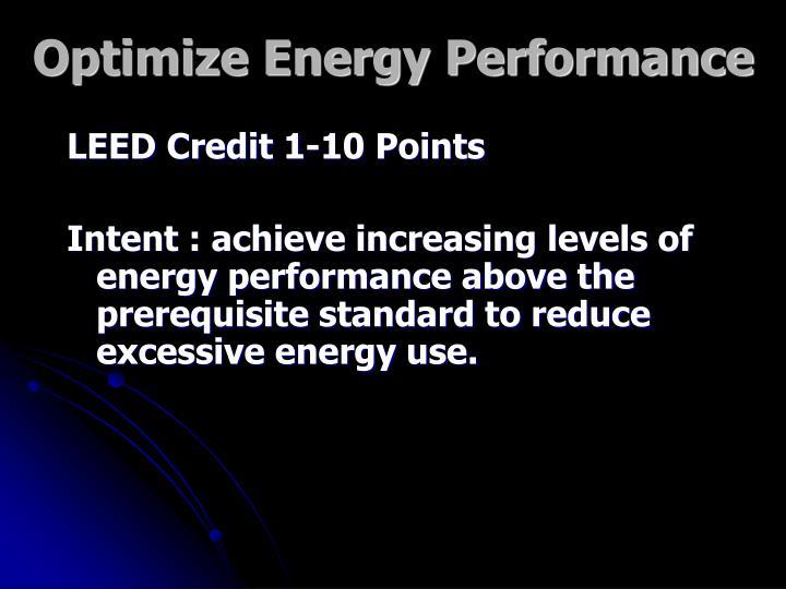 Optimize Energy Performance