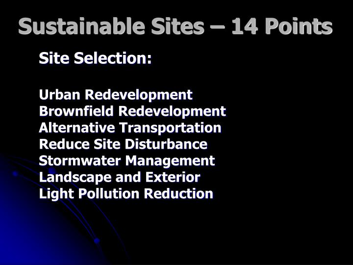 Sustainable Sites – 14 Points