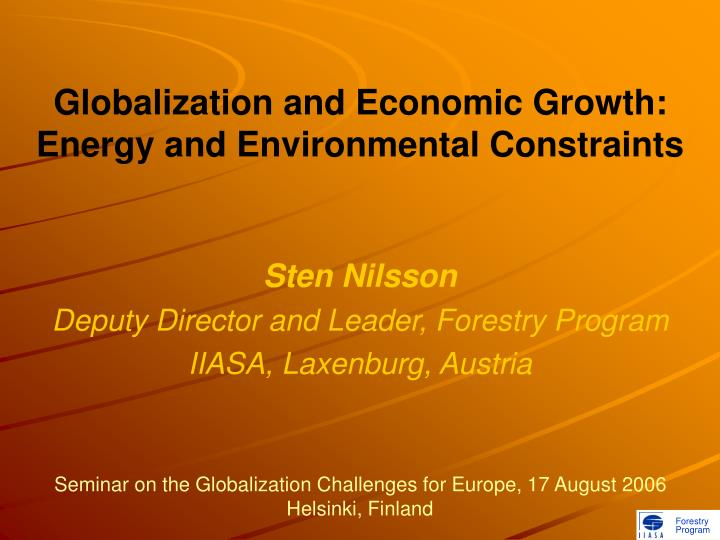 Globalization and economic growth energy and environmental constraints