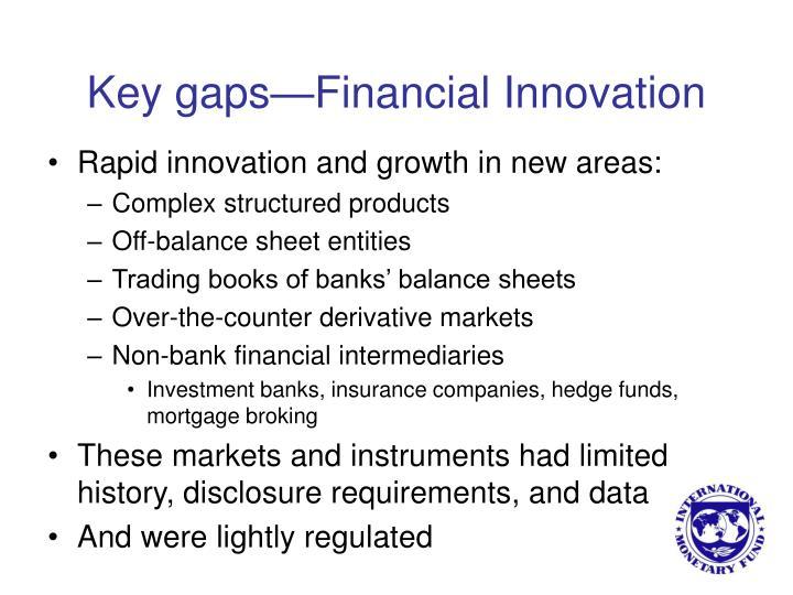 Key gaps financial innovation