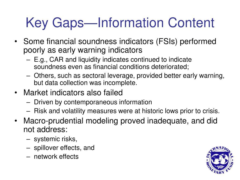 Key Gaps—Information Content